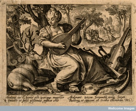 V0007684 A woman plays music to a stag; God condemns Adam and Eve to