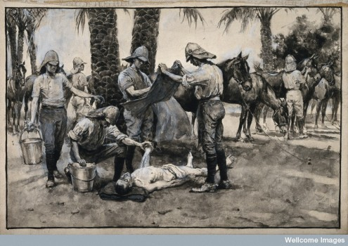 Soldier treated for sunstroke in the Sudan. © Wellcome Library, London.