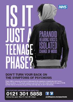 Poster from the Birmingham campaign, 'Don't Turn Your Back on the Symptoms of Psychosis'.